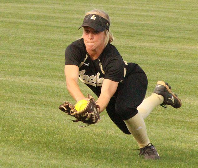 Senior Madison Lucido makes a diving catch in the Ladycat's 5-0 victory over Windthorst.