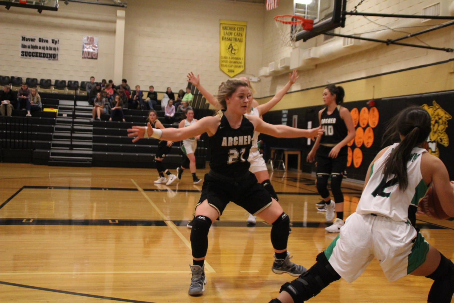 Junior Sam Clements guards an Iowa Park Lady Eagle.