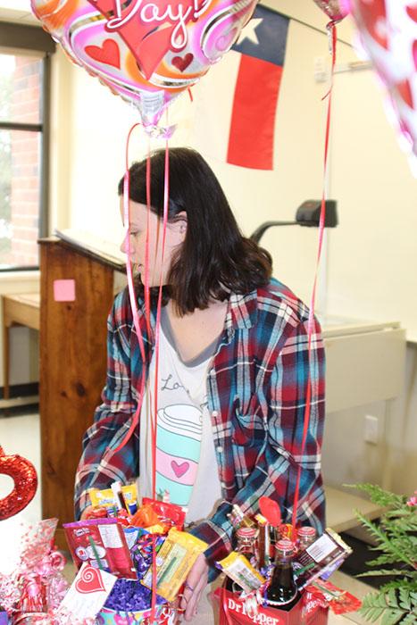 FCCLA Co-Vice President prepares to deliver valentines.