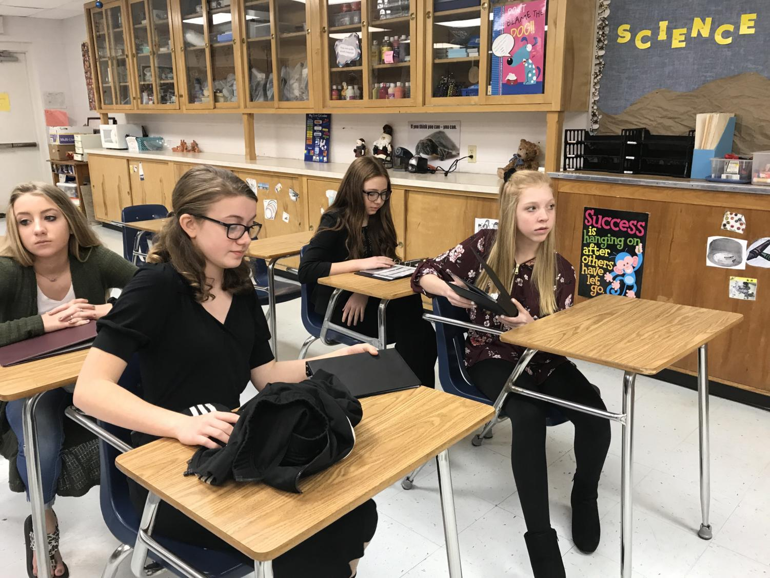 Eighth graders Kelsey Aultman, Camryn Cox and Emily Wolf competed in Oral Reading at the junior high UIL meet in Windthorst.