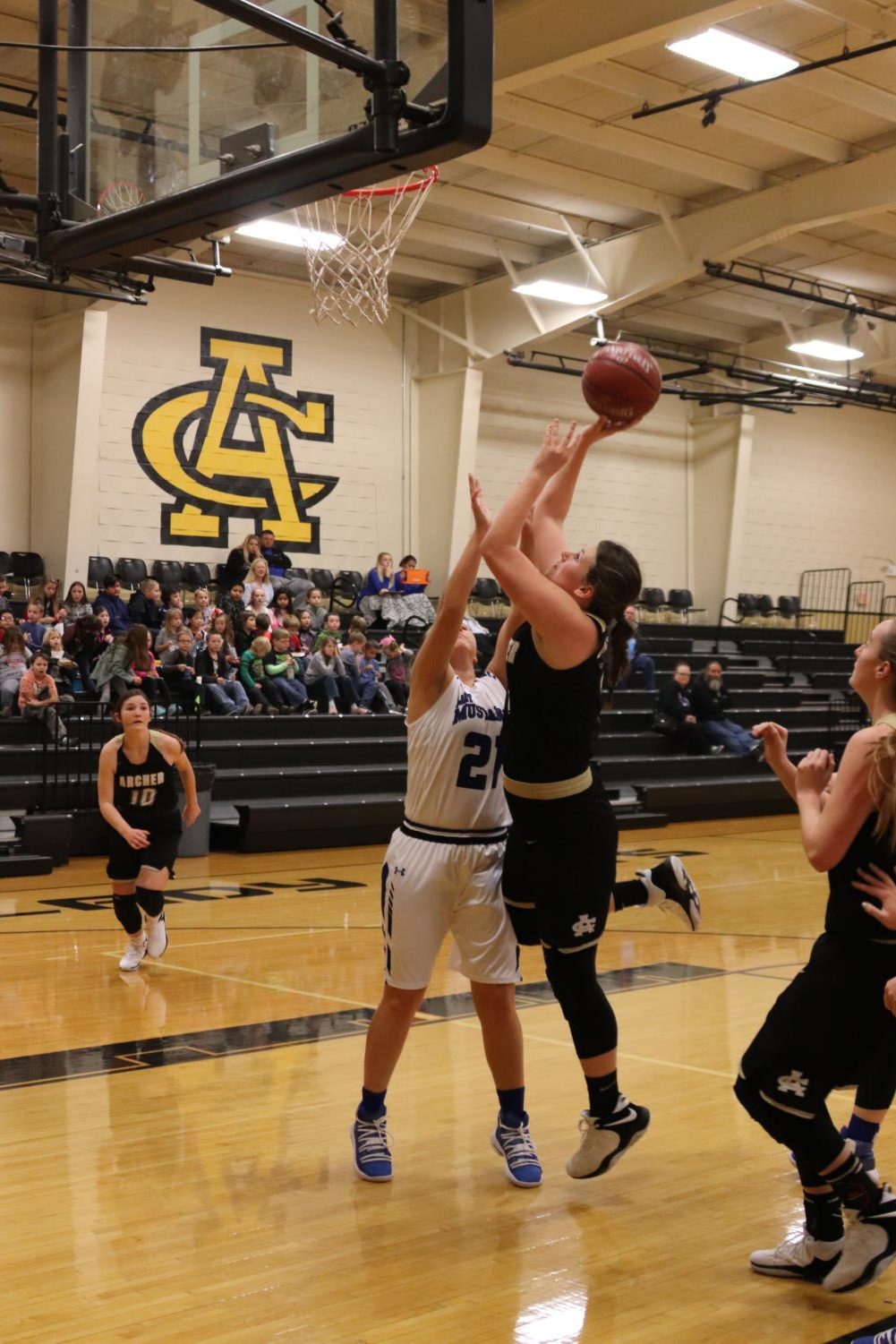 During last week's Wildcat Classic, junior Shaylee Watson goes up for a layup while junior Maggie Coates prepares to assist. The Ladycats defeated City View in the first game of the tournament.
