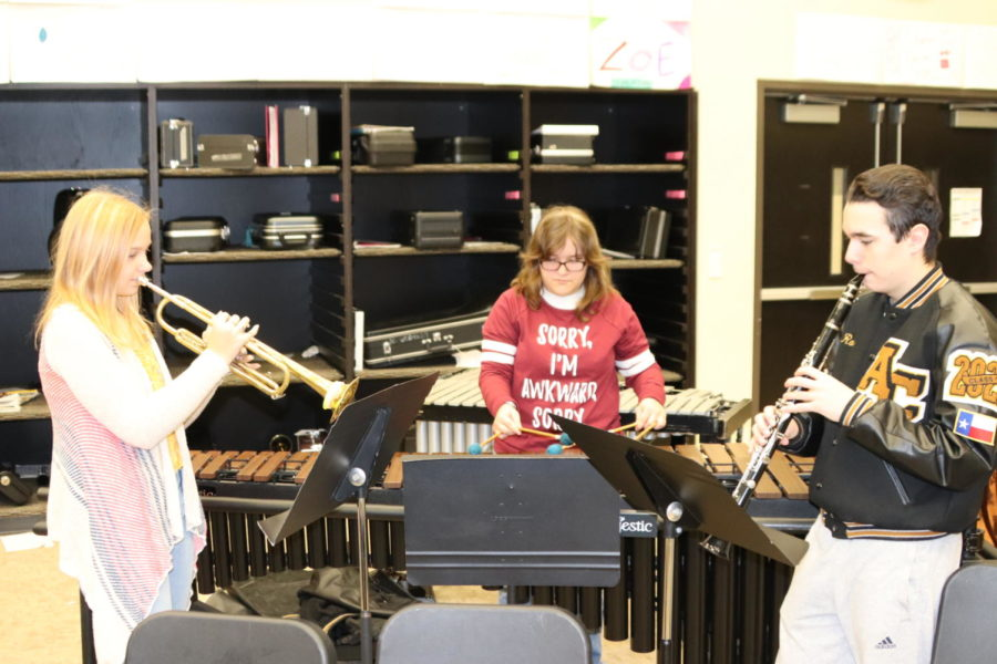 Juniors Emily Strenski and Robin Samtlebe, and senior Emily Richardson practice their music. They competed for a spot in the all-district and all-region bands.