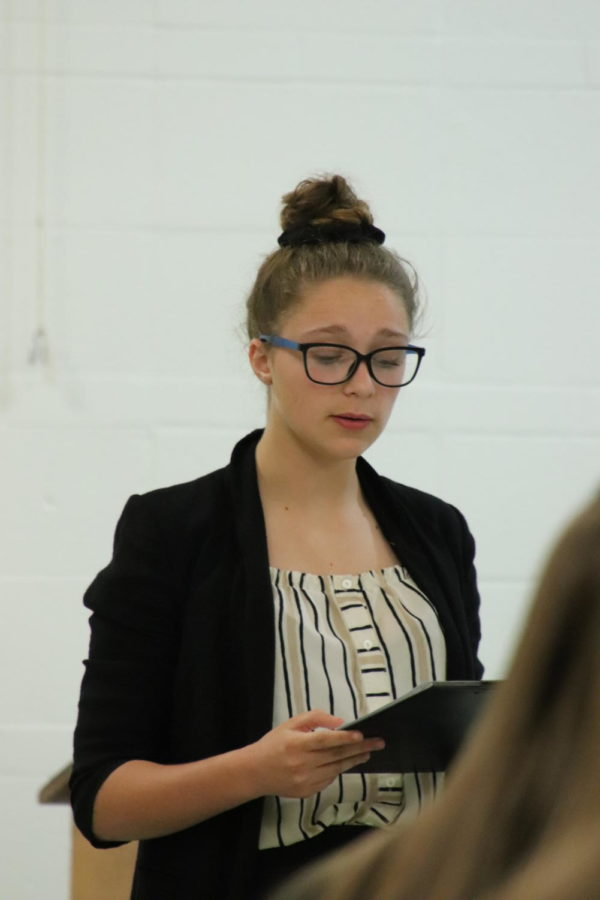 Freshman Candace Taggart gives her speech at the district Congressional Debate competition Nov. 14.