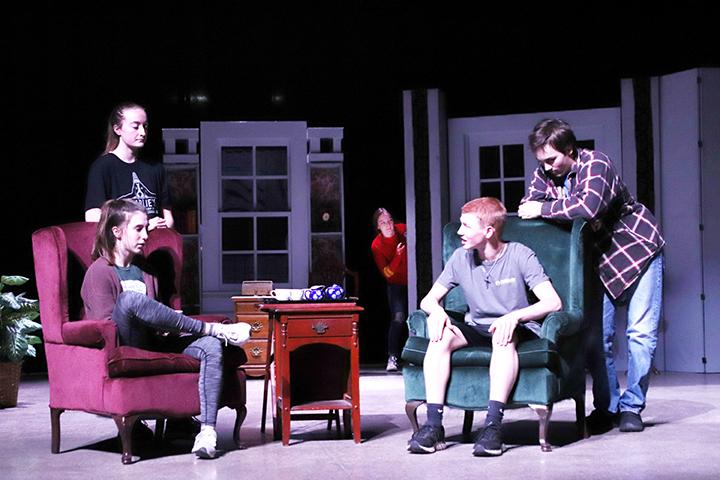 "Senior Maggie Coates, freshman Kadence Huffman, senior Tessa Brooks and sophomores Colton Canada and Ace Reid rehearse a scene from ""The Bad Seed."""