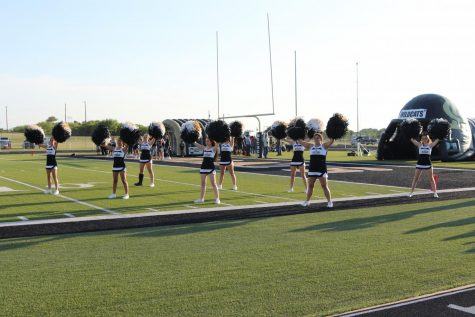 The cheerleaders perform the school song.
