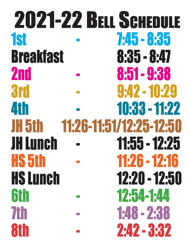 2022-22 Bell Schedule